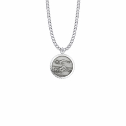 15/16 Inch Round Sterling Silver Boy's Swimmer Medal with St. Christopher on Back