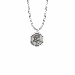 15/16 Inch Round Sterling Silver Boy's Wrestling Medal with St. Christopher on Back