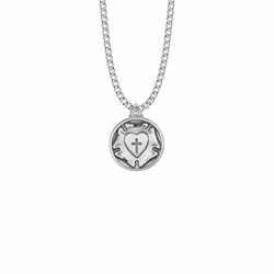 15/16 Inch Round Sterling Silver Diamond Engraved Lutheran Rose Medal