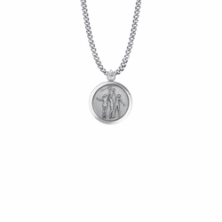 15/16 Inch Round Sterling Silver Girl's Basketball Player Medal with St. Christopher on Back