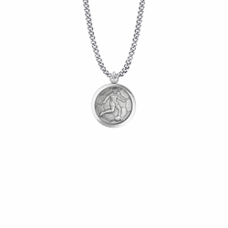 15/16 Inch Round Sterling Silver Girl's Soccer Player Medal with St. Christopher on Back