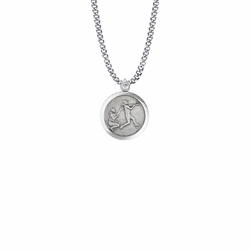 15/16 Inch Round Sterling Silver Girl's Softball Player Medal with St. Christopher on Back
