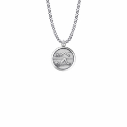 15/16 Inch Round Sterling Silver Girl's Swimmer Medal with St. Christopher on Back