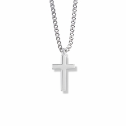 15/16 Inch Silver Plated Boy First Communion Cross Necklace