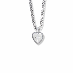 15/16 Inch Sterling Silver Cross and Mother of Pearl Heart Locket Necklace