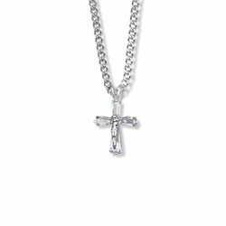 15/16 Inch Sterling Silver Crystal Baguette Crucifix Necklace