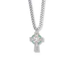 15/16 Inch Sterling Silver Enameled Celtic Cross Necklace