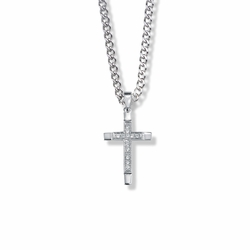 15/16 Inch Sterling Silver Inner Cross on Cross Necklace with Crystal Cubic Zirconia Stones