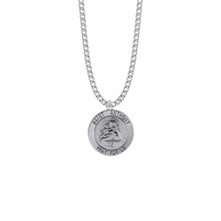 15/16 Inch Sterling Silver Large Round St. Anthony Medal, Patron Saint of Lost Articles