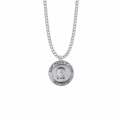 15/16 Inch Sterling Silver Large Round St. Francis Medal, Patron Saint of Animals