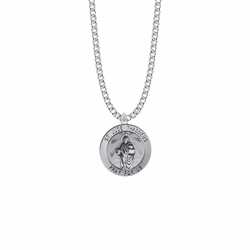 15/16 Inch Sterling Silver Large Round St. Jude Medal, Patron Saint of Hopeless Causes and Desperation