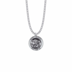 15/16 Inch Sterling Silver Large Round St. Michael Medal, Patron Saint of Police