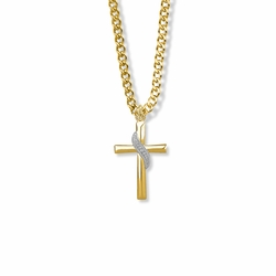15/16 Inch Two-Tone 14K Gold Filled Sash Cross Necklace