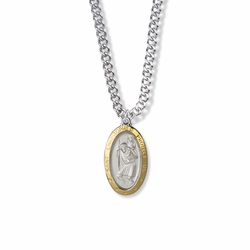 15/16 Inch Two-Tone Sterling Silver Oval St. Christopher Medal