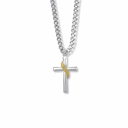 15/16 Inch Two-Tone Sterling Silver Sash Cross Necklace