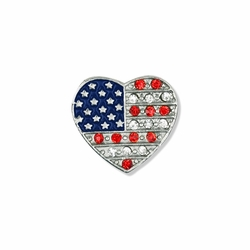 15/16 x 13/16 Inch Silver Heart with Glass Crystal Stones American Flag Lapel Pin
