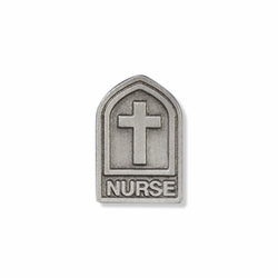 15/16 x 5/8 Inch Pewter Nurse Shield Lapel Pin