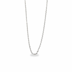 16 Inch Stainless Steel Rhodium Plated Cable Necklace Chain