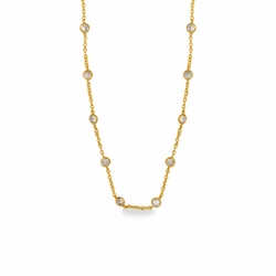 18 Inch Gold Plated Cable Necklace Chain with Crystal CZ Stones