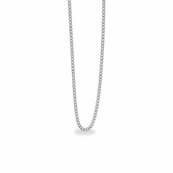 18 Inch Stainless Steel Rhodium Plated Curb Necklace Chain Carded