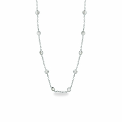 18 Inch Sterling Silver Cable Necklace Chain with Crystal CZ Stones