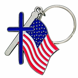2-1/16 x 1-7/8 Inch Pewter and Enameled American Flag with Cross Key Chain