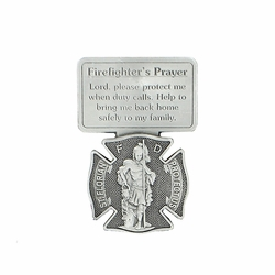 2-1/2 Inch Pewter St. Florian Firefighter's Prayer Visor Clip