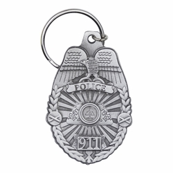 2-1/2 x 1-9/16 Inch Pewter Police Shield Key Chain