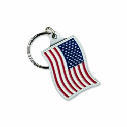 2-1/4 Inch Enameled Finish American Flag Key Chain