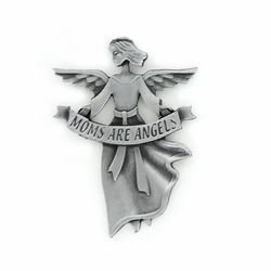 "2-1/4 Inch Pewter Angel with ""Moms are Angels"" Visor Clip"