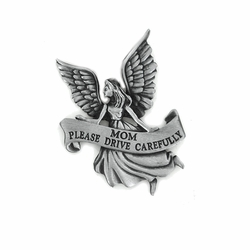 "2-1/4 Inch Pewter Angel with ""Mom Please Drive Carefully"" Visor Clip"