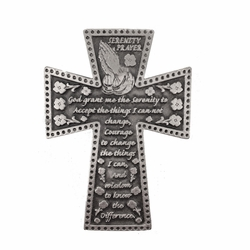 2-1/4 Inch Pewter Serenity Prayer Cross Auto Visor Clip