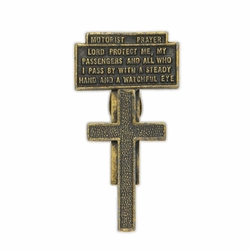 2-1/4 x 1-3/16 Inch Gold Pewter Motorist Prayer Cross Visor Clip