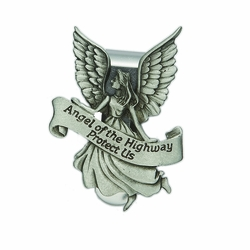 2-1/4 x 1-5/8 Inch Pewter Angel of The Highway Visor Clip
