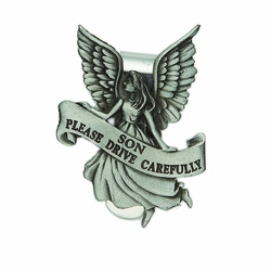 "2-1/4 x 1-5/8 Inch Pewter Son ""Please Drive Carefully"" Angel Visor Clip"