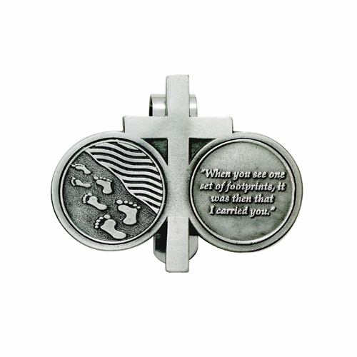 2-1/4  x 2-3/4 Inch Pewter Footprints Prayer and Cross Coins Visor Clip