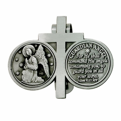 2-1/4  x 2-3/4 Inch Pewter Guardian Angel and Cross Coins Visor Clip