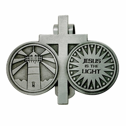 2-1/4  x 2-3/4 Inch Pewter Jesus is the Light and Cross Coins Visor Clip