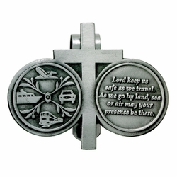2-1/4  x 2-3/4 Inch Pewter Travelers Prayer and Cross Coins Visor Clip