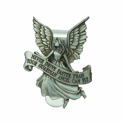 """2-1/8 x 1-3/4 Inch Pewter """"Never Drive Faster Than Your Guardian"""" Angel Visor Clip"""