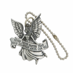 2-1/8 x 1-5/8 Inch Pewter Guardian Angel Auto Mirror Hanger