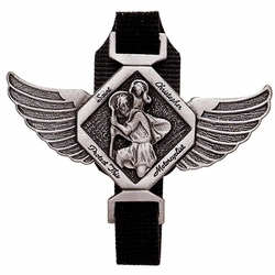 2-1/8 x 3 Inch Pewter Angel Winged  St. Christopher, Patron of Travelers Biker Strap