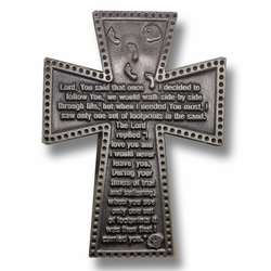 2-1/4 Inch Pewter Footprints in the Sand Prayer Cross Visor Clip