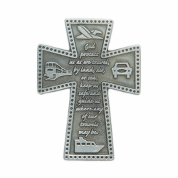 2-3/16 x 1-9/16 Inch Pewter Travel Cross Protect Us Visor Clip