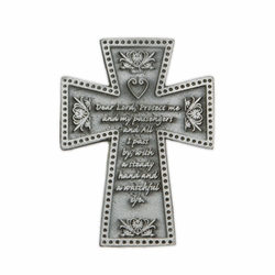 2-3/16 x 1-9/16 Inch Pewter Travel Cross Protect Me Visor Clip