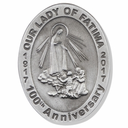 2-3/8 x 1-3/4 Inch Oval Pewter Our Lady of Fatima Visor Clip