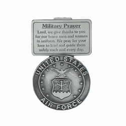 2-5/8 Inch Pewter Air Force Military Prayer Visor Clip