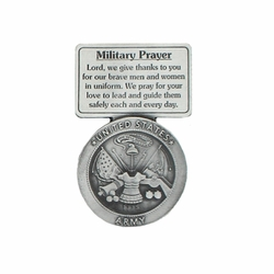 2-5/8 Inch Pewter Army Military Prayer Visor Clip