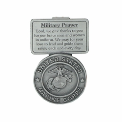 2-5/8 Inch Pewter Marines Military Prayer Visor Clip