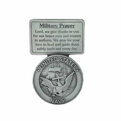 2-5/8 Inch Pewter Navy Military Prayer Visor Clip